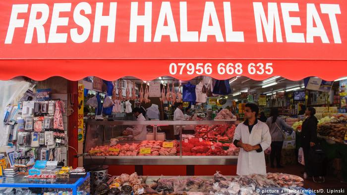 A view of a butchers selling halal meat in Brixton, south London