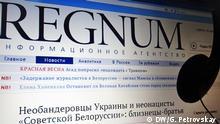 Homepage russischen Regnum Online-Zeitung. Foto: Galina Petrovskay / DW