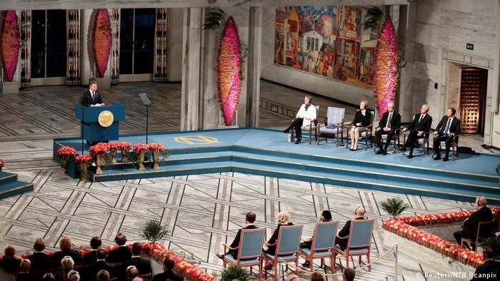 Friedensnobelpreis 2016 an Juan Manuel Santos, Präsident Kolumbien - Preisverleihung in Oslo (Reuters/NTB Scanpix)