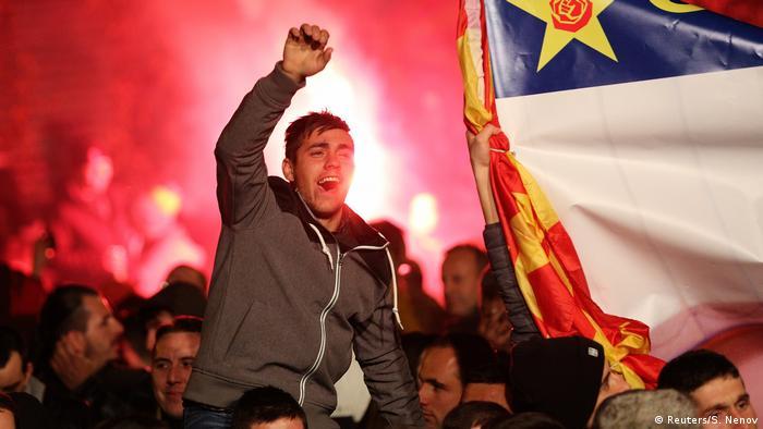 Mazedonien Jubel Wahlen (Reuters/S. Nenov)