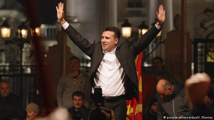 Mazedonien Jubel Wahlen Zoran Zaev