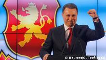 12.12.2016*** Leader of Macedonian ruling party VMRO-DPMNE and former Prime Minister Nikola Gruevski addresses the media in Skopje, Macedonia, December 12, 2016. REUTERS/Ognen Teofilovski