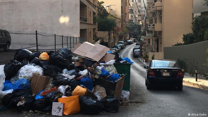 Trash piling up in the streets of Beirut