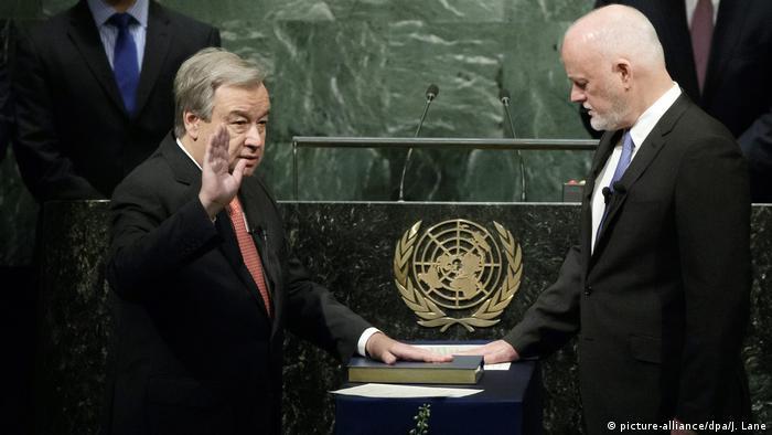 UN Generalversammlung - Antonio Guterres, Vereidigung als Generalsekretär in New York
