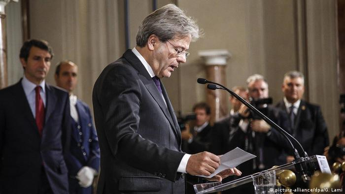 Gentiloni served as foreign minister in outgoing Prime Minister Matteo Renzi's government