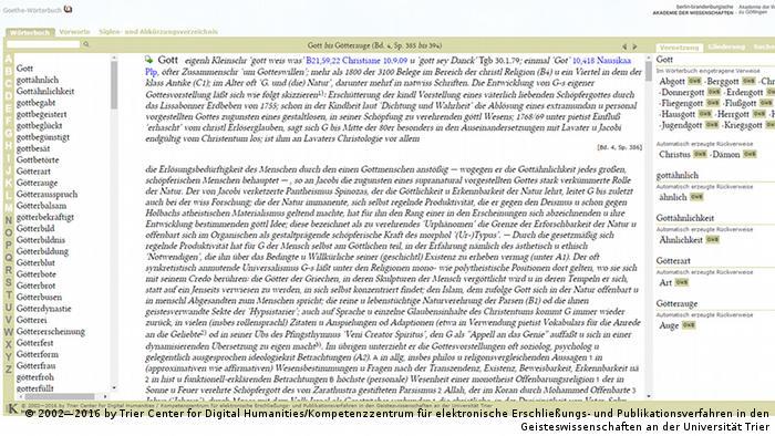 Goethe Wörterbuch Online - Stichwort Gott