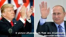 KOMBO - FILES - Photos show US Republican nominee for President Donald Trump (L) applauding on the final day of the 2016 Republican National Convention in Cleveland, Ohio, USA, 21 July 2016 and Russian President Vladimir Putin waving his hand during a videoconference in Moscow, Russia, 21 October 2015. EPA/SHAWN THEW and EPA/ALEXEY DRUZHININ/RIA NOVOSTI/KREMLIN POOL MANDATORY CREDIT/RIA NOVOSTI/ |