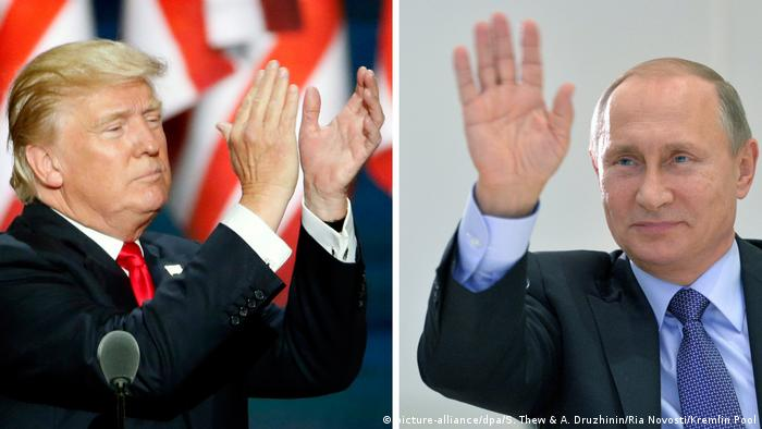 Symbolbild US-Wahl - Donald Trump & Wladimir Putin (picture-alliance/dpa/S. Thew & A. Druzhinin/Ria Novosti/Kremlin Pool)