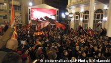 13.12.2016 **** Supporters of the ruling conservative VMRO-DPMNE party celebrate the victory in general elections in front of the party headquarters in Skopje, Macedonia, early Tuesday, Dec. 13, 2016. Macedonia's dominant conservative coalition has won a narrow victory over the main opposition Social Democrats in early national elections, although without enough seats in parliament to govern alone, final results showed late Monday. (AP Photo/Boris Grdanoski) |