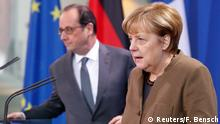 13.12.2016+++ French President Francois Hollande and German Chancellor Angela Merkel make a statement to the media at the Chancellery in Berlin, Germany, December 13, 2016. REUTERS/Fabrizio Bensch