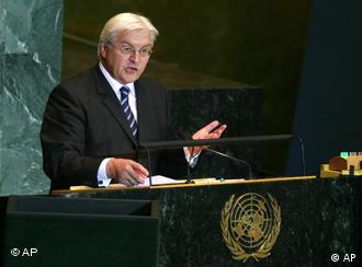 Steinmeier speaks at the podium of the UN General Assembly
