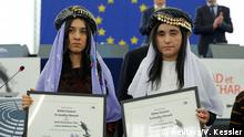 13.12.2016+++ Nadia Murad Basee Taha (L) and Lamiya Aji Bashar, both Iraqi women of the Yazidi faith, pose with the 2016 Sakharov Prize during an award ceremony at the European Parliament in Strasbourg, France, December 13, 2016. REUTERS/Vincent Kessler