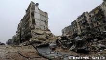 13.12.2016 *** A general view shows the damage in the government-held al-Shaar neighborhood of Aleppo, during a media tour, Syria December 13, 2016. REUTERS/Omar Sanadiki