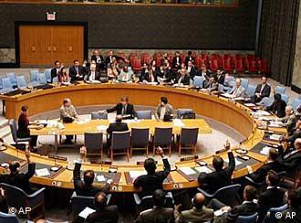 Blick auf den runden Tisch im UN-Sicherheitsrat (Quelle: AP)