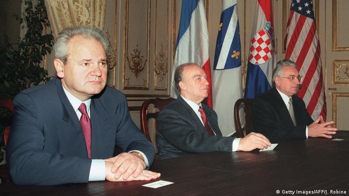 Frankreich Milosevic Tudjman und Izetbegovic in Paris