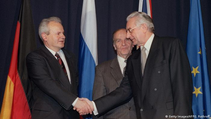 USA Milosevic Tudjman und Izetbegovic in Dayton (Getty Images/AFP/J. Ruthroff)