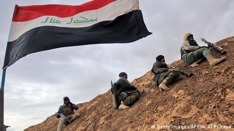 Shiite fighters of the Popular Mobilization Units on the outskirts of Mosul