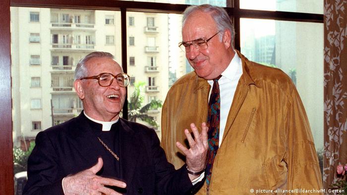 Dom Paulo Evaristo Arns e chanceler federal alemão Helmut Kohl em 27/101991