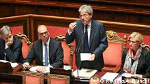 14.12.2016 *** Newly appointed Italian Prime Minister Paolo Gentiloni speaks before a confidence vote at the Senate in Rome, Italy December 14, 2016. REUTERS/Alessandro Bianchi