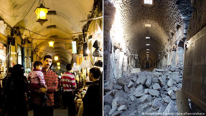 Syrien Aleppo Markt Basar Fotocollage Vorher Nachher
