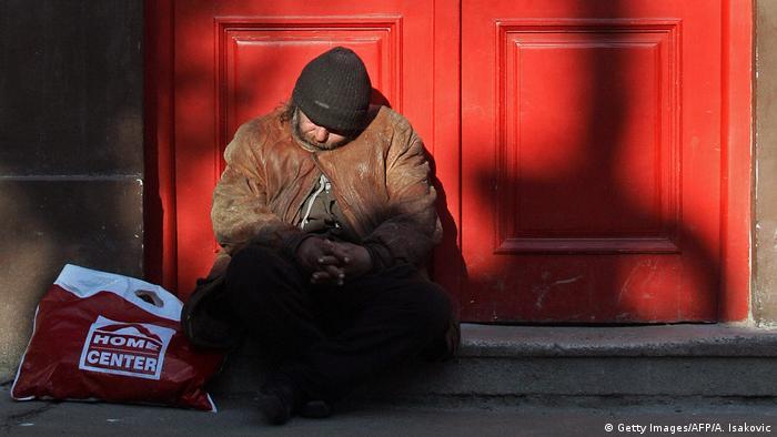 Serbien Obdachloser in Belgrad
