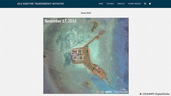 Screenshot der Seite von Asia Maritime Transparency Initiative zur Chinas militärische Präsenz im Südchinesischen Meer
