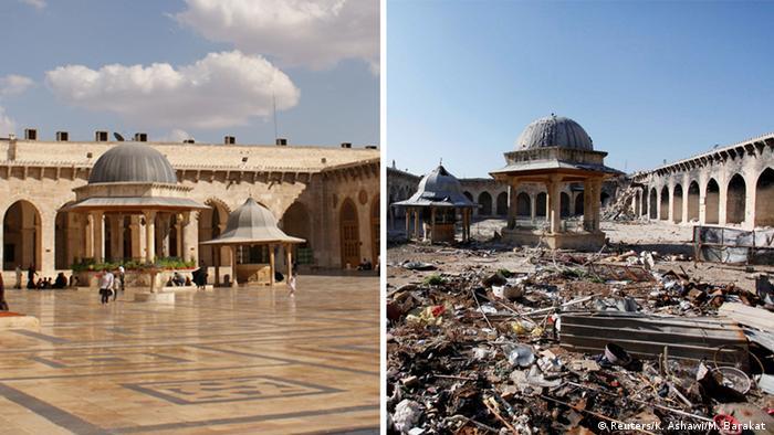 Syrien Aleppo Moschee Umayyad Vorher Nachher (Reuters / K.Ashawi / M. Barakat)