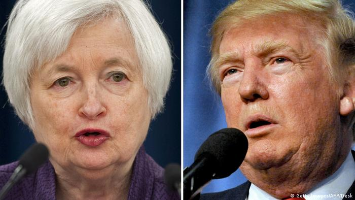 Bildkombo Janet Yellen Donald Trump (Getty Images/AFP/Desk)