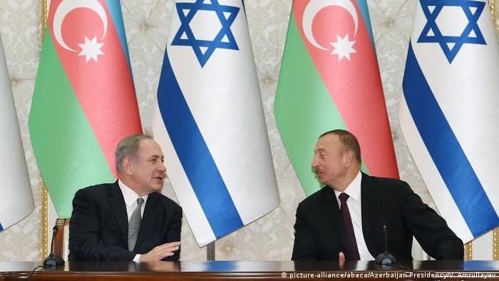 نخستوزیر اسرائیل و رئیس جمهوری آذربایجان در سفر سال ۲۰۱۶ نتانیاهو به باکو