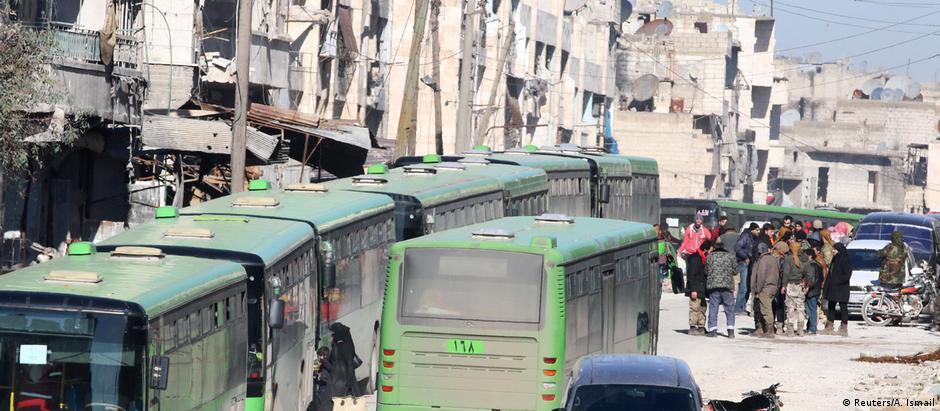 Comboios de ônibus e ambulâncias retiram pessoas de Aleppo