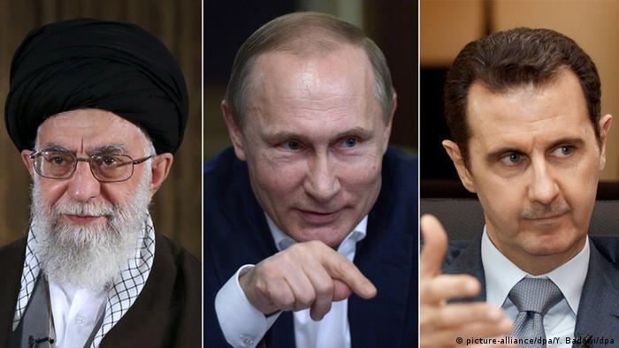 Kombobild Khamenei, Putin, Assad (picture-alliance/dpa/Y. Badawi/dpa)