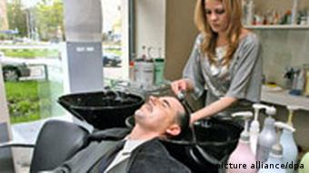 A man in a beauty and hair salon in Moscow, Russia