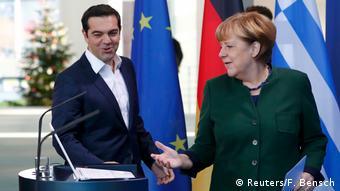 Berlin PK Alexis Tsipras & Angela Merkel (Reuters/F. Bensch)