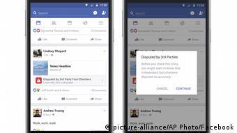 Facebook Fake News-Optionen (picture-alliance/AP Photo/Facebook)