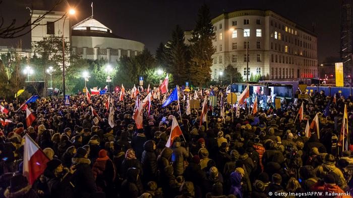 Protest outside Poland's parliament