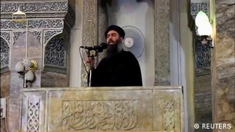 Abu Bakr al-Baghdadi making a speech Reuters TV/File Photo