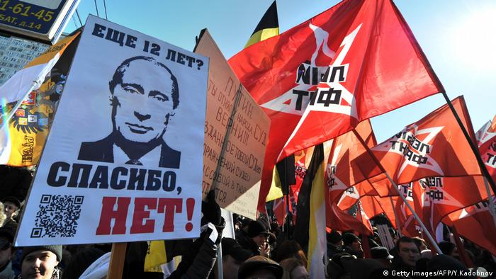 Opposition movement activists take part in anti-Putin rally