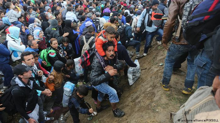 huge group of refugees climbing up hill (picture-alliance/PIXSELL)