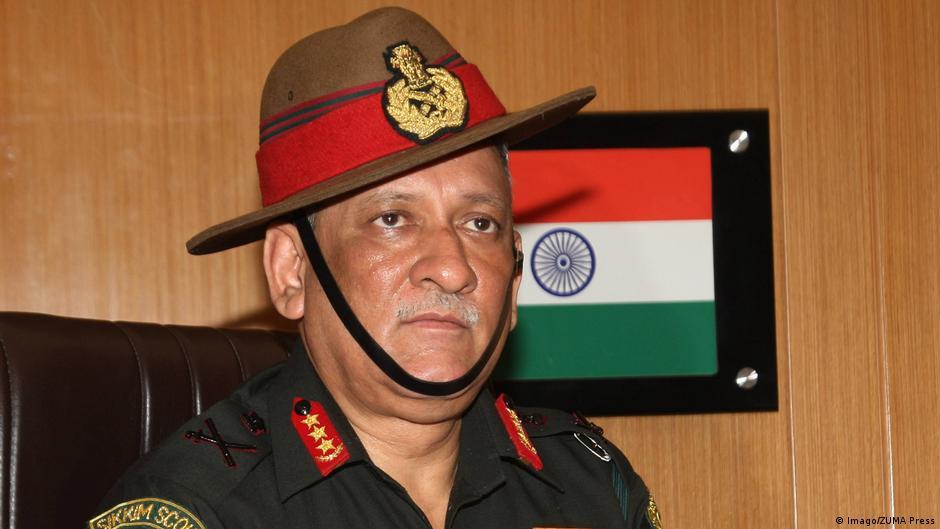 印度國防參謀長拉瓦特(資料圖片,2016年)