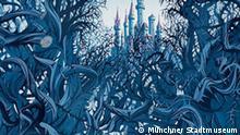 Eyvind Earle Dornröschen - Die Hunds-Rose vor dem Schloss / Sleeping Beauty - The Briar Rose, 1959 Cel Set-up, Zelluloid, Gouache, 40 x 95,3 cm Copyright: Münchner Stadtmuseum *****VERWENDUNG NUR IN ZUSAMMENHANG MIT BERICHTERSTATTUNG ÜBER DIE AUSSTELLUNG****