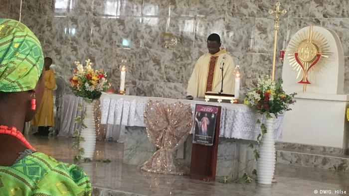Priest presides over church service in Lagos