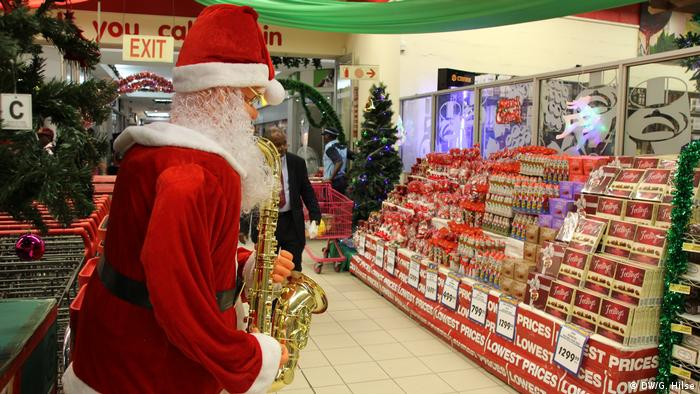 Red-colored Christmas sweets in Nigerian shop