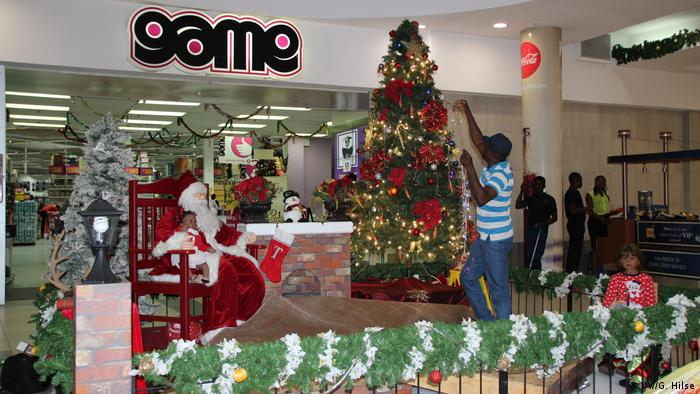 Nigerian department store decorated for Christmas