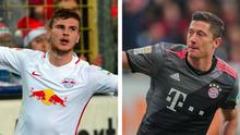 Kombobild Timo Werner RB Leipizig und Robert Lewandowski FC Bayern München