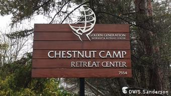 A sign reads Chesnut Camp Retreat Center