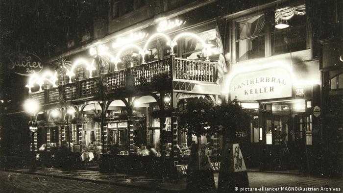 Vienna's Café Sacher at night