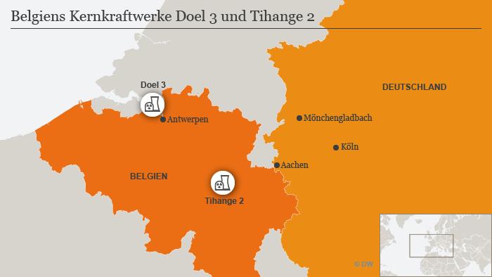 Infografik Karte Belgiens Kernkraftwerke Doel 2 und Tihange 2 DEU