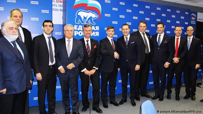 In 2016, top FPÖ party members signed a 5-year cooperation agreement with Putin's United Russia party (picture Alliance/dpa/FPÖ Linz)