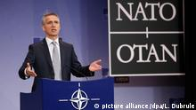 18 May 2016*** epa05314541 Jens Stoltenberg, NATO Secretary General addresses a press conference at the NATO headquarter in Brussels, Belgium, 18 May 2016. EPA/LAURENT DUBRULE +++(c) dpa - Bildfunk+++ |