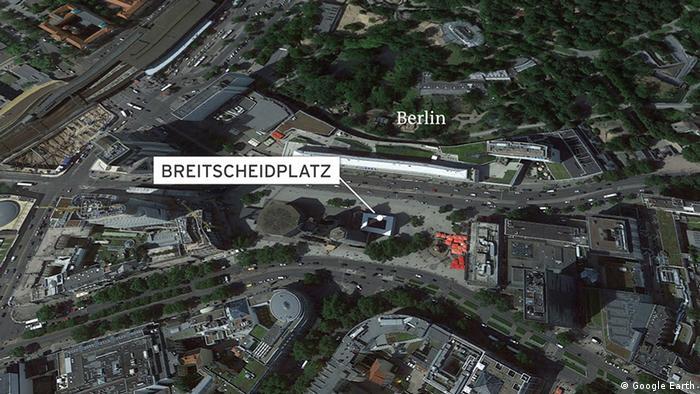 Deutschland Neun Tote und viele Verletzte auf Berliner Weihnachtsmarkt (Google Earth)